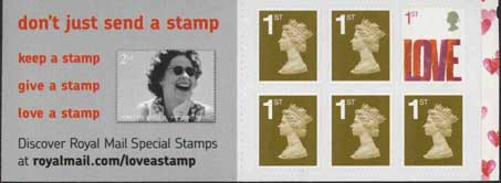 Booklet pane with Love Smilers stamp